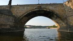 Charles Bridge - the oldest bridge in the city of Prague - stock footage