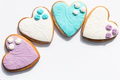 Stock Photo of heart shaped shortbread valentine cookies