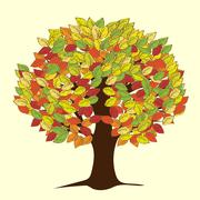 Large autumn tree with yellowed leaves - stock illustration