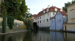 View of Čertovka, a narrow water channel almost 900 m long, in Prague Stock Footage