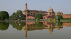 SLOW MOTION Central Secretariat with reflection and birds,Delhi,India Stock Footage