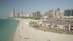 Aerial shot of Abu Dhabi Corniche, UAE. Arkistovideo