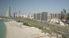 Stock Video Footage of Aerial shot of Abu Dhabi Corniche, UAE.