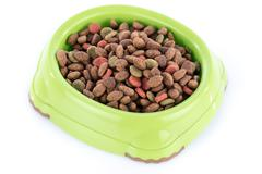 Cat food granules in a green bowl - stock photo