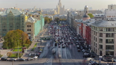 Above view of Lubyanskaya and Novaya Square in Moscow timelapse in spring day Stock Footage