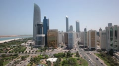 Aerial shot of Abu Dhabi Park and Corniche, UAE. Stock Footage