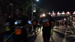 Stock Video Footage of Tel-Aviv Night runners timelapse