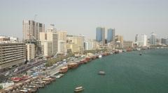 Aerial shot of Dubai Creek, UAE. Stock Footage