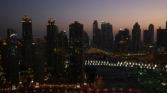 Aerial shot of sunset at Downtown Dubai, UAE. Stock Footage