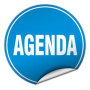 agenda round blue sticker isolated on white - stock illustration