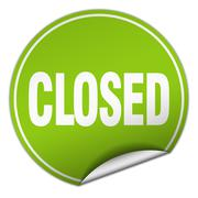 closed round green sticker isolated on white - stock illustration