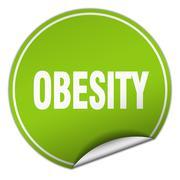 obesity round green sticker isolated on white - stock illustration
