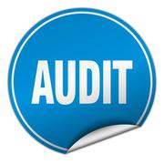 audit round blue sticker isolated on white - stock illustration