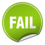 Fail round green sticker isolated on white Stock Illustration