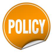 policy round orange sticker isolated on white - stock illustration