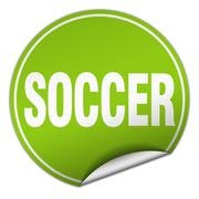 Stock Illustration of soccer round green sticker isolated on white