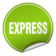 Express round green sticker isolated on white Stock Illustration