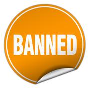 Banned round orange sticker isolated on white Stock Illustration