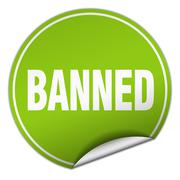 Banned round green sticker isolated on white Stock Illustration