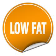 Stock Illustration of low fat round orange sticker isolated on white