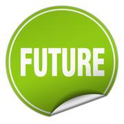 future round green sticker isolated on white - stock illustration