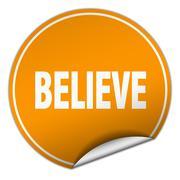 Stock Illustration of believe round orange sticker isolated on white
