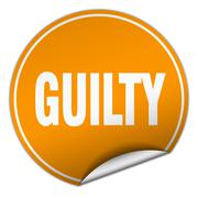 Stock Illustration of guilty round orange sticker isolated on white