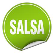 salsa round green sticker isolated on white - stock illustration