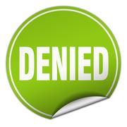 denied round green sticker isolated on white - stock illustration