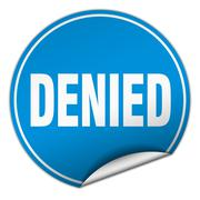 denied round blue sticker isolated on white - stock illustration