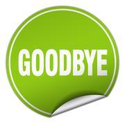 goodbye round green sticker isolated on white - stock illustration