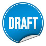 draft round blue sticker isolated on white - stock illustration