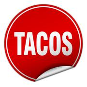 tacos round red sticker isolated on white - stock illustration