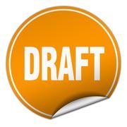 draft round orange sticker isolated on white - stock illustration