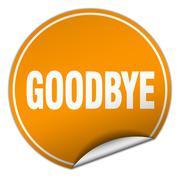 goodbye round orange sticker isolated on white - stock illustration