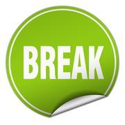 break round green sticker isolated on white - stock illustration