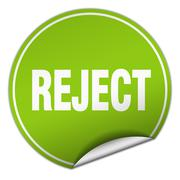 reject round green sticker isolated on white - stock illustration