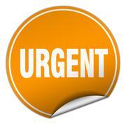 Urgent round orange sticker isolated on white Stock Illustration