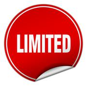 limited round red sticker isolated on white - stock illustration