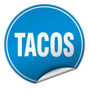 tacos round blue sticker isolated on white - stock illustration