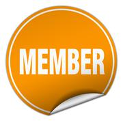 member round orange sticker isolated on white - stock illustration
