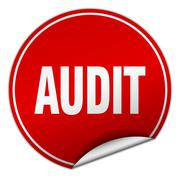 audit round red sticker isolated on white - stock illustration