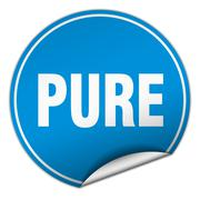 pure round blue sticker isolated on white - stock illustration