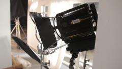 Lighting equipment on the set of the film. Film production - stock footage