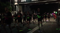Tel-Aviv Night crowd runing Stock Footage