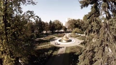 Aerial of fountain and fir-tree at Gorky park, Moscow Stock Footage