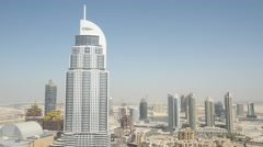 Aerial shot of The Address Downtown Dubai, UAE. - stock footage