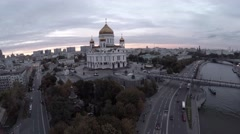 Aerial panorama of Cathedral of Christ the Saviour, Moscow - stock footage
