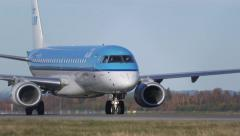 KLM Embraer 190 airplane taxiing amazing ambient audio Stock Footage