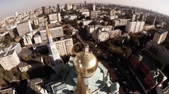 Aerial of Moscow Cathedral Mosque, Islam. Religious building, church - stock footage